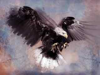 水彩手绘老鹰图片桌面壁纸