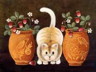 艺术猫咪手绘高清