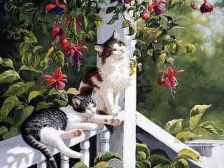 庭院慵懒猫咪手绘