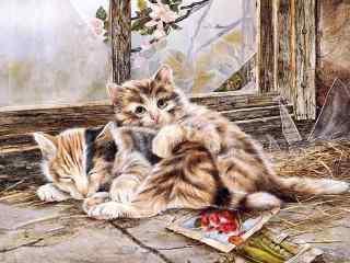 逼真两只小猫咪手绘高清桌面壁纸