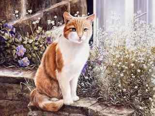 黄色猫咪手绘高清