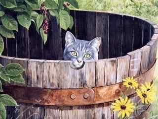 温暖猫咪木桶手绘