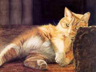 手绘慵懒的猫咪手绘壁纸