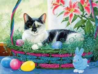 躺在篮子里的猫咪手绘壁纸