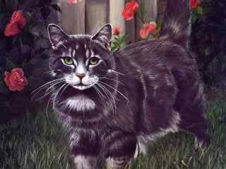 卡通黑色猫咪手绘壁纸