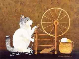玩纺织车的猫咪手绘壁纸