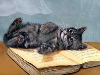 萌萌哒躺在书上的猫咪手绘壁纸