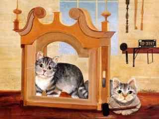 两只可爱的猫咪手绘壁纸