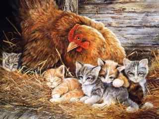 母鸡和可爱猫咪手绘壁纸