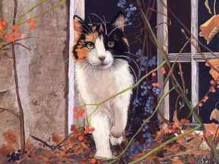 三花猫猫咪手绘壁纸