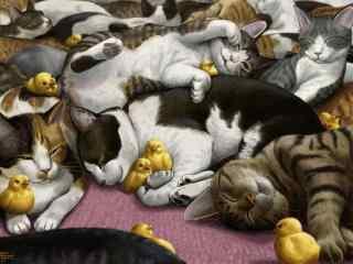 一群猫咪与小黄鸡手绘壁纸