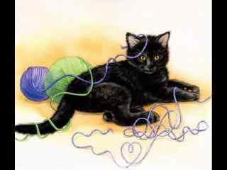 玩毛线的黑色猫咪手绘壁纸
