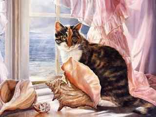 趴在窗边的猫咪手绘壁纸