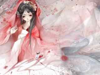 手绘好看的古风红衣美人壁纸