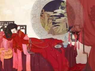 手绘古风红衣美人高清壁纸