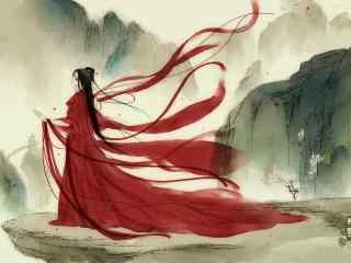 手绘古风红衣美人背影桌面壁纸