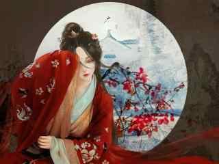 手绘古风红衣美人高清桌面壁纸