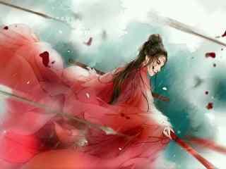 手绘古风红衣美人高清大图