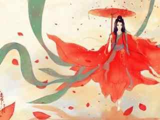 唯美手绘古风红衣美人撑伞壁纸