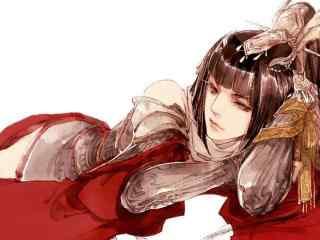 手绘古风红衣美人大图壁纸