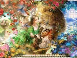 美女与野兽唯美手绘壁纸