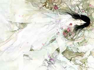 手绘古风美女唯美壁纸