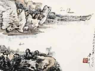 秀丽的洞庭湖水墨画壁纸