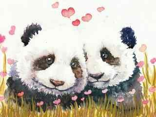 手绘花丛中两只熊猫恋爱桌面壁纸