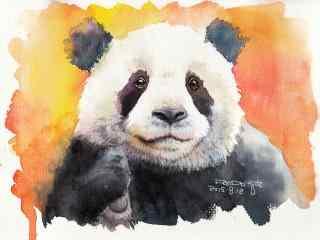 手绘呆萌可爱的熊猫桌面壁纸