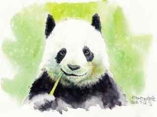 手绘开心吃着竹子的熊猫手机壁纸