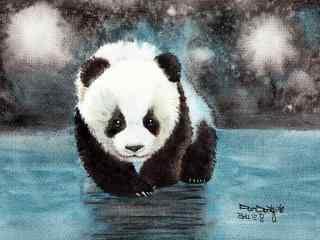 手绘可爱软萌的熊猫桌面壁纸