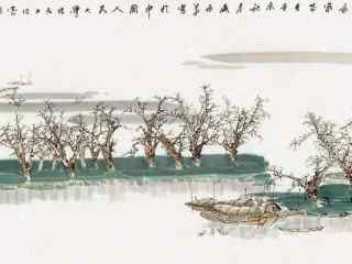 洞庭湖山水水墨画壁纸