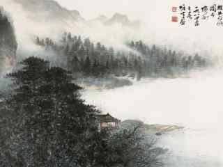 好看的洞庭湖山水水墨画壁纸
