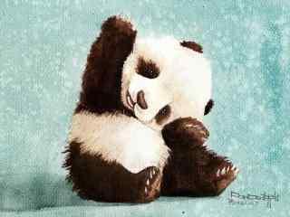 手绘伸懒腰的熊猫桌面壁纸