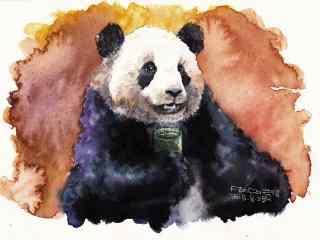 手绘创意熊猫品茶桌面壁纸