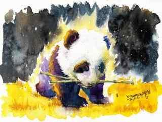 手绘水彩可爱熊猫桌面壁纸