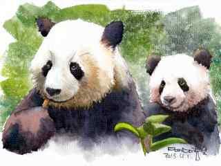 两只可爱大熊猫吃竹子桌面壁纸