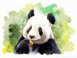 手绘可爱国宝熊猫桌面壁纸