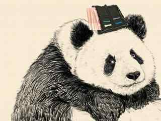 手绘可爱呆萌的熊猫桌面壁纸