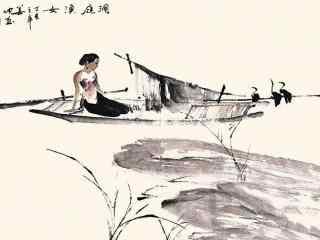 洞庭湖水墨画图片壁纸