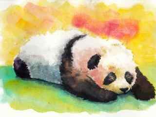 手绘趴着懒洋洋熊猫桌面壁纸