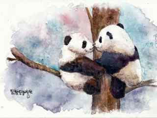 手绘两只熊猫亲吻桌面壁纸