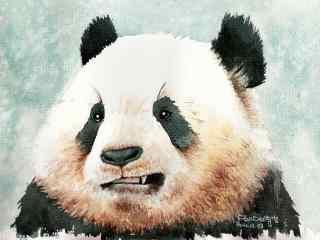 手绘凶猛的熊猫桌面壁纸