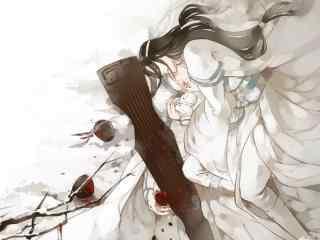唯美白衣古风美男桌面壁纸