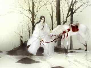 唯美白衣古风美男牵马图片