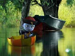 僵小鱼划船渡河桌面壁纸