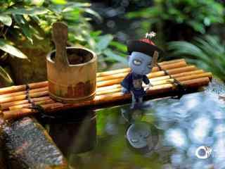 僵小鱼在水塘泡脚桌面壁纸