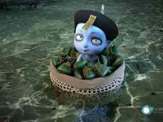 僵小鱼端午节系列乘坐小船渡河桌面壁纸