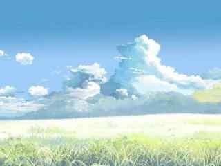 唯美的动漫手绘天空与草地图片壁纸