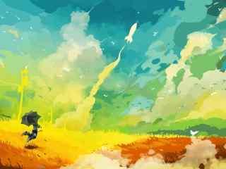 彩色手绘天空桌面壁纸